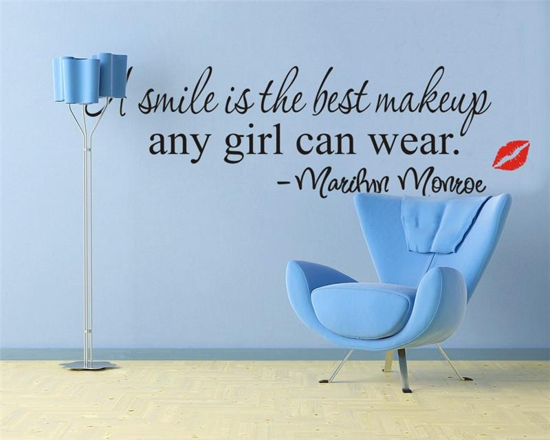 A Smile Is The Best Makeup Marilyn Monroe Letters English Quote Pertaining To Marilyn Monroe Wall Art Quotes (Image 6 of 20)