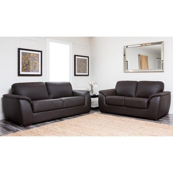 Abbyson Ashton Top Grain Leather Sofa And Loveseat Set – Free In Ashton Sofas (Image 4 of 20)