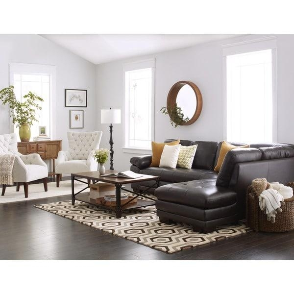 Abbyson Devonshire Brown Leather Tufted Sectional Sofa – Free For Brown Leather Tufted Sofas (Image 2 of 20)