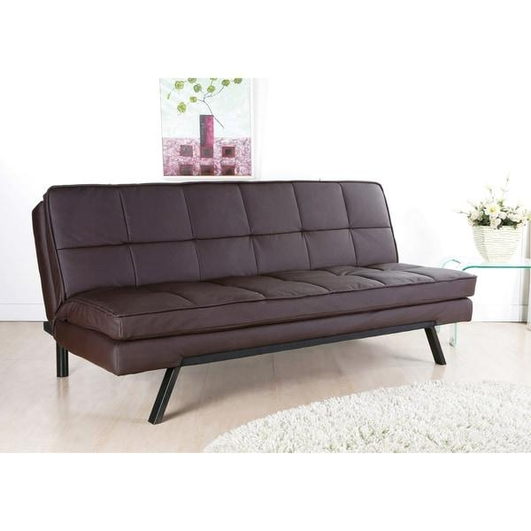 Abbyson Newport Faux Leather Futon Sleeper Sofa – Free Shipping With Leather Fouton Sofas (Image 3 of 20)