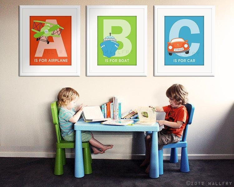 Abc Prints Transportation Art. Playroom Artwork (Image 5 of 20)