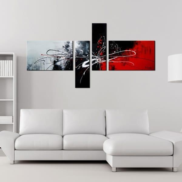 Abstract 435' 4 Piece Gallery Wrapped Hand Painted Canvas Art Set For 4 Piece Canvas Art Sets (Image 4 of 20)
