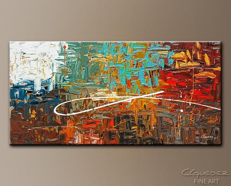 Abstract Art For Sale Destination – Textured Abstract Painting With Regard To Red And Turquoise Wall Art (Photo 18 of 20)
