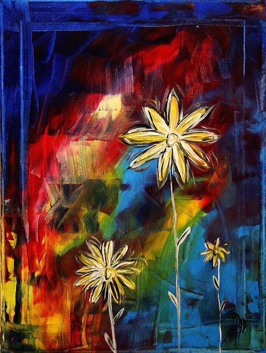 Abstract Art Original Daisy Flower Painting Visual Feastmadart With Regard To Megan Duncanson Metal Wall Art (Image 2 of 20)