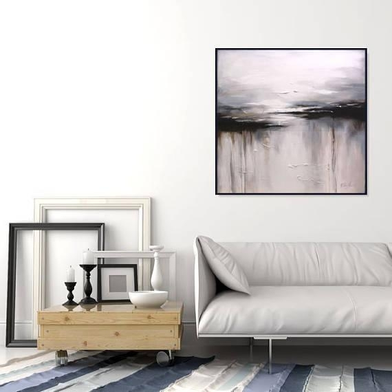 Abstract Black And White Wall Art Painting/ Large Canvas Art/ Within Large White Wall Art (Image 4 of 20)