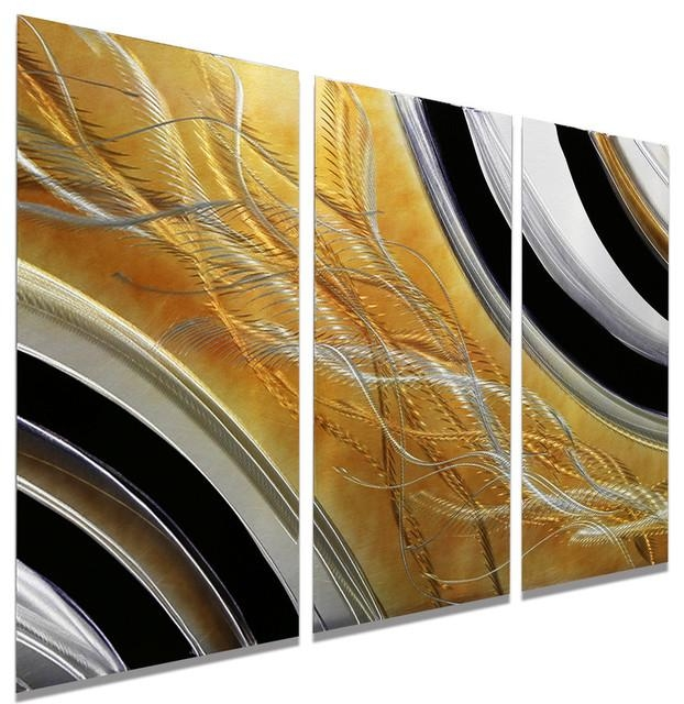 Abstract Black, Silver And Gold Modern Metal Wall Painting In Silver And Gold Wall Art (Image 1 of 20)