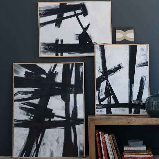 Abstract Black + White Wall Art | West Elm With Black And White Wall Art (Image 2 of 20)