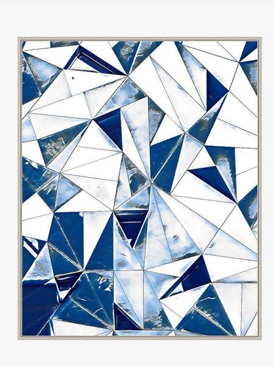 Abstract Blue White Triangles Wall Art With Regard To Blue And White Wall Art (Image 3 of 20)