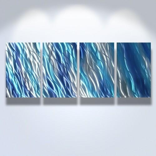 Abstract Metal Art Wall Art Modern Decor Sculpture Blue Reef Pertaining To Blue Wall Art (Image 3 of 20)