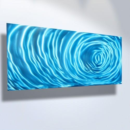 Abstract Metal Wall Art  Contemporary Modern Decor Sculpture Blue Pertaining To Blue Wall Art (Image 4 of 20)