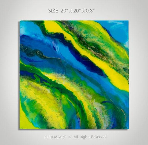 Abstract Painting Blue Yellow Green Acrylic Painting Wall Art In Yellow And Blue Wall Art (Image 4 of 20)