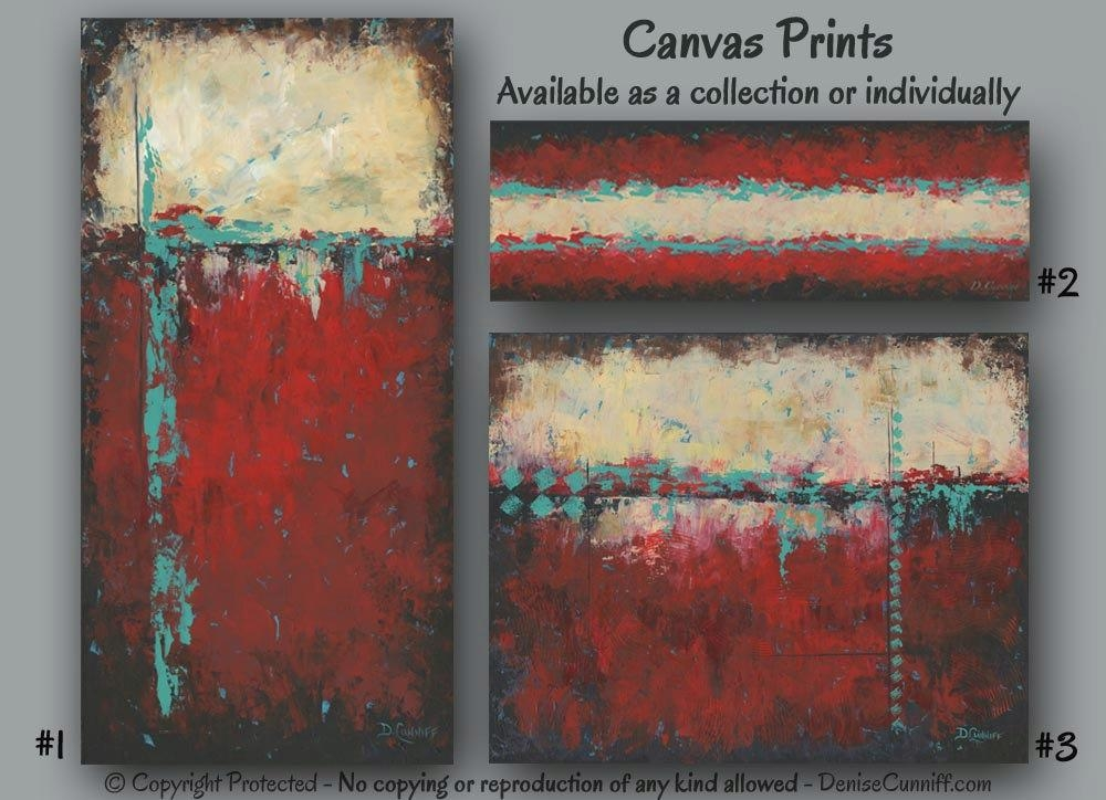 Abstract Painting Print Set Canvas Wall Art Sets Large Wall For Red And Turquoise Wall Art (Image 6 of 20)