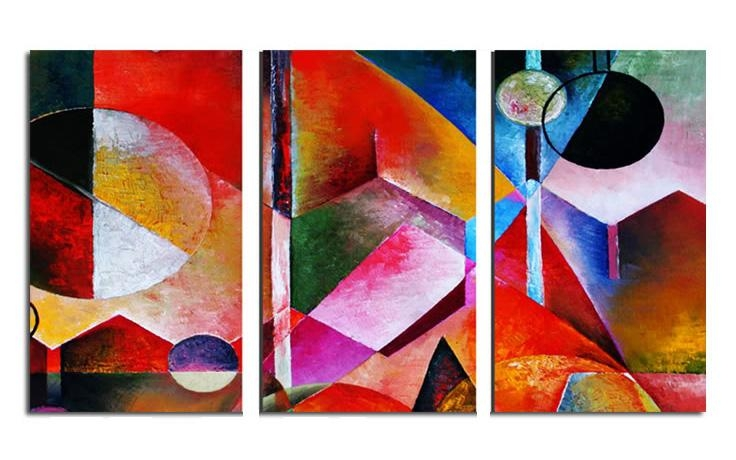 Abstract Triple Split Triptych Canvas Wall Art Picture 36X20 Inch With Vibrant Wall Art (View 2 of 20)