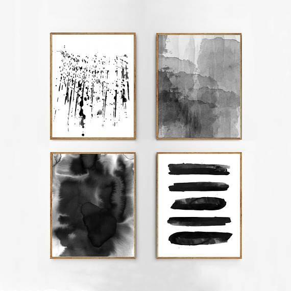 Abstract Watercolor Set Black And White Wall Art Large Print Regarding Large Black And White Wall Art (Image 6 of 20)