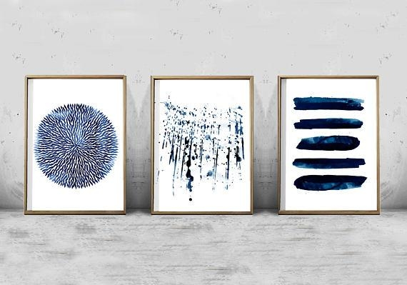 Abstract Watercolor Set Minimalist Art Navy Blue Wall Art In Navy Blue Wall Art (Image 3 of 20)