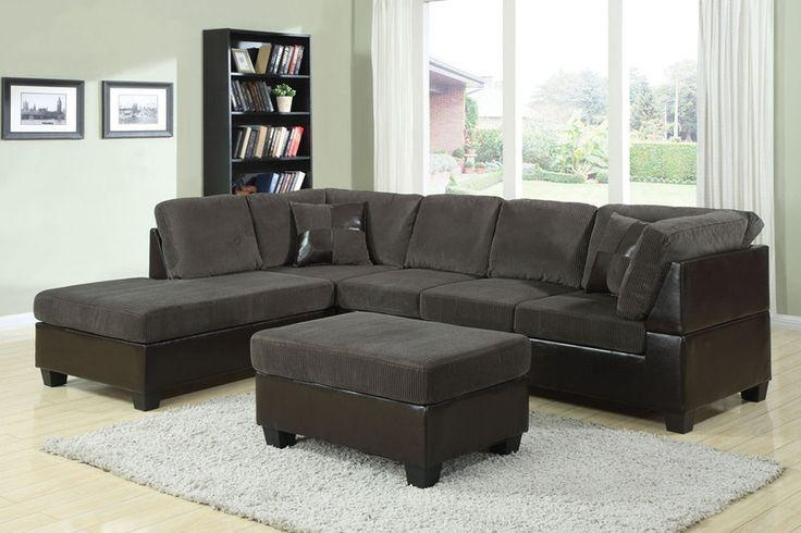 Acme Modern Olive Gray Corduroy Espresso Leather Sectional Sofa Inside Brown Corduroy Sofas (Image 2 of 20)
