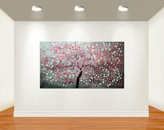 Acrylic Art Painting Red Cherry Blossoms 72 X 40 Abstract Regarding Red Cherry Blossom Wall Art (View 9 of 20)