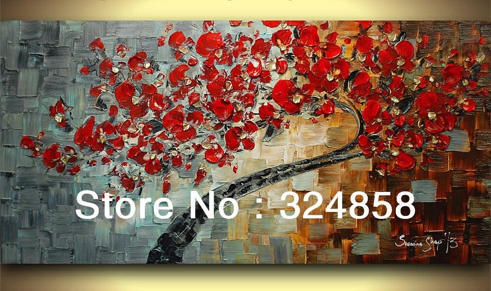 Acrylic White Peacock Abstract Palette Knife Modern Oil Painting In Red Cherry Blossom Wall Art (Image 4 of 20)