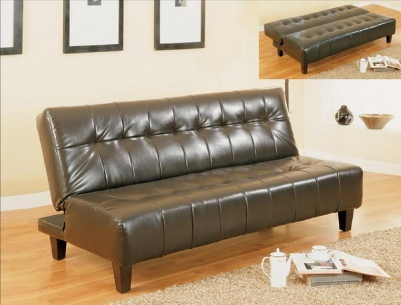 Adjustable Sofa Bed – Bicast Leather – Futon With Regard To Leather Fouton Sofas (View 14 of 20)
