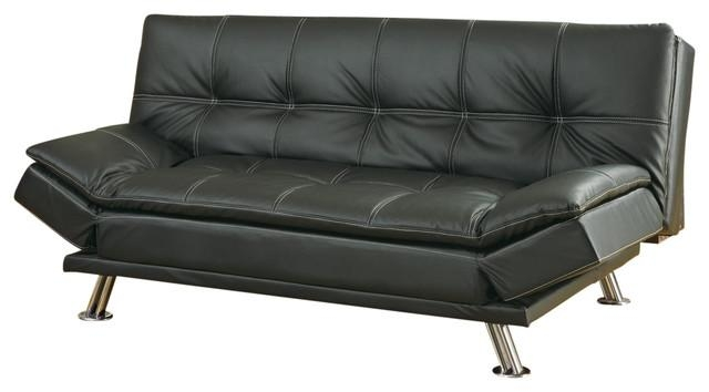 Adorable Futon Leather Sofa Bed Co Fine Furniture Dark Brown Faux Within Faux Leather Futon Sofas (Image 5 of 20)