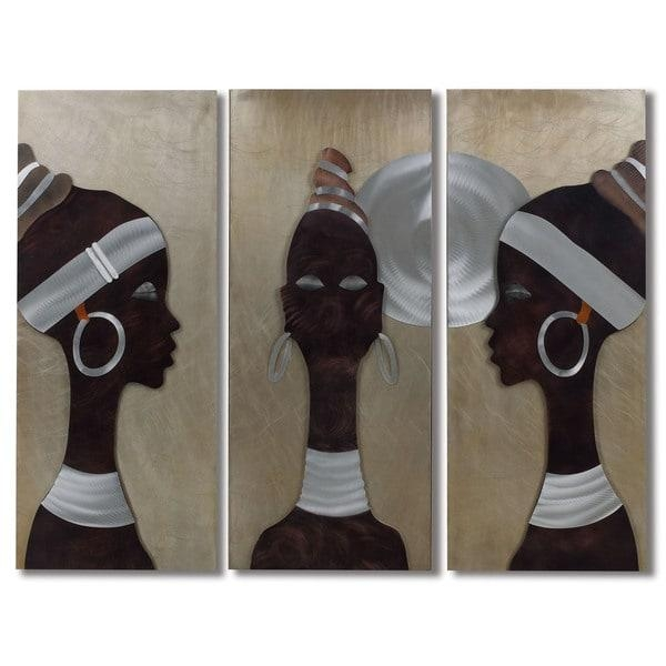 African Trio 3 Panle Metal Wall Art – Free Shipping Today In African Metal Wall Art (View 2 of 20)