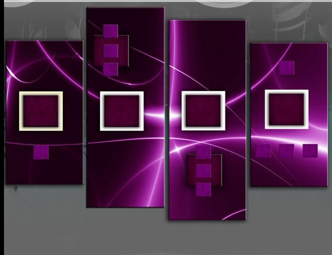 Ahead Deep Purple Abstract 4 Panel Wall Art Picture 40 Inch 101Cm Throughout Plum Coloured Wall Art (Image 2 of 20)