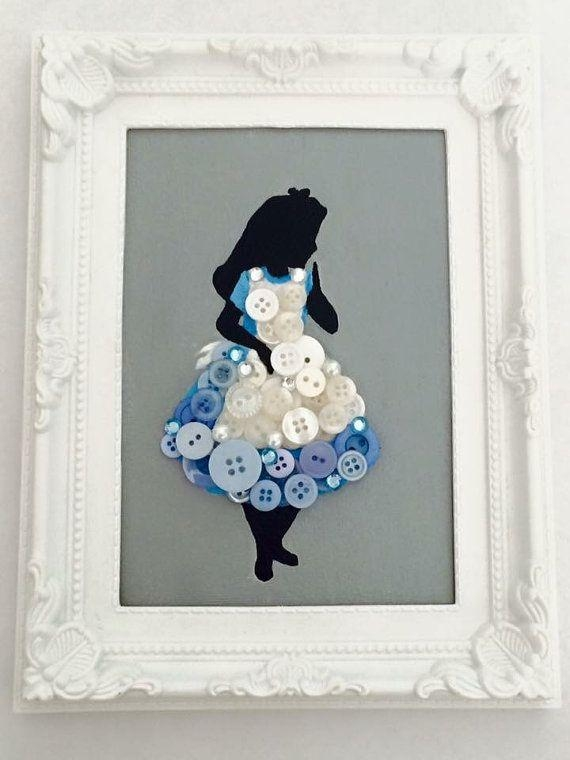 Alice In Wonderland Framed Button Canvas … | Pinteres… Within Disney Princess Framed Wall Art (Image 8 of 20)
