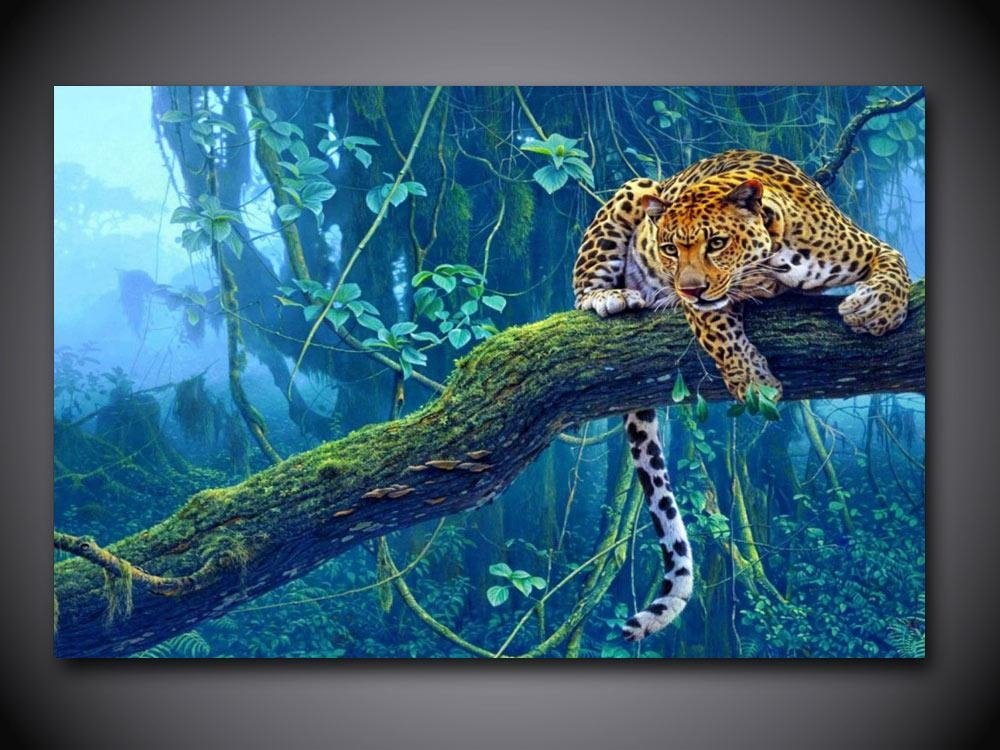 Aliexpress : Buy 1 Panel Free Shipping Jungle Leopard Print Inside Jungle Canvas Wall Art (Image 1 of 20)