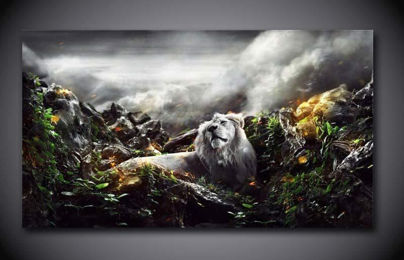 Aliexpress : Buy 1 Panel Free Shipping Jungle Lion Print With Regard To Jungle Canvas Wall Art (Image 2 of 20)
