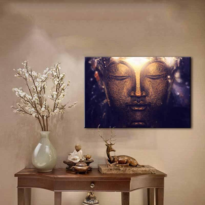 Aliexpress : Buy 1 Piece Large Buddha Canvas Print Picture Pertaining To Large Buddha Wall Art (View 20 of 20)