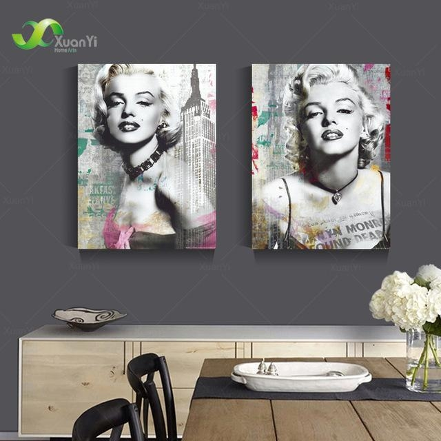 Aliexpress : Buy 2 Panel Canvas Print Sexy Marilyn Monroe With Regard To Marilyn Monroe Black And White Wall Art (View 9 of 20)