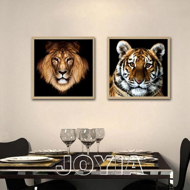 Aliexpress : Buy 2 Piece Wall Art Animal Canvas Prints Black Within Animal Canvas Wall Art (View 20 of 20)