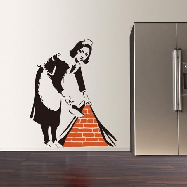 Aliexpress : Buy 2016 New Banksy French Maid Vinyl Wall Decal Intended For Graffiti Wall Art Stickers (Image 3 of 20)