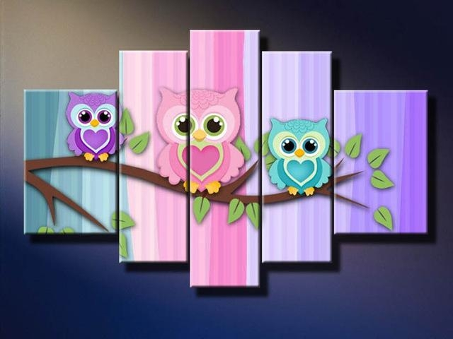 Aliexpress : Buy 2016 Paintings Cute Bird Little Owl Picture In Owl Framed Wall Art (Image 5 of 20)