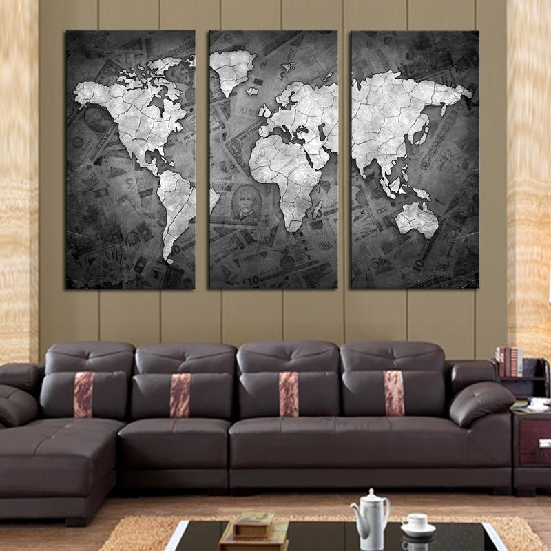 Aliexpress : Buy 2017 Limited Frameless 3 Pcs Wall Art Grey With Cheap Contemporary Wall Art (Image 4 of 20)
