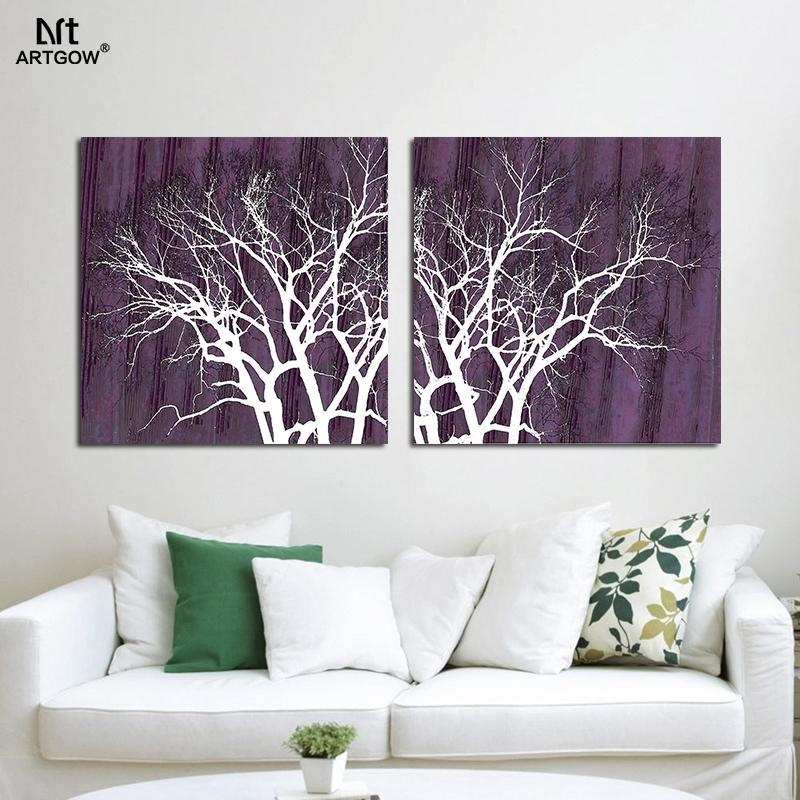 Aliexpress : Buy 2Pcs Modern Abstract Wall Purple Pictures With Regard To Purple Abstract Wall Art (Image 6 of 20)