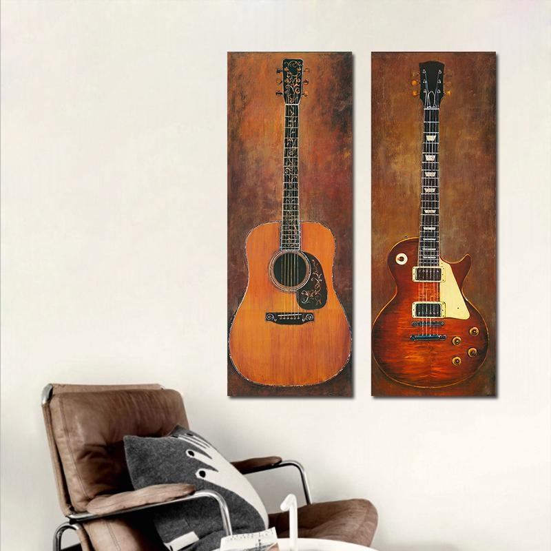 Aliexpress : Buy 2Pcs Modern Still Life Guitar Decoration With Musical Instrument Wall Art (View 16 of 20)