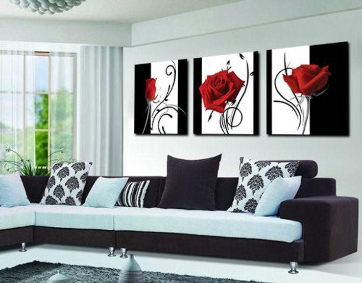 Aliexpress : Buy 3 Panel Red Rose Home Decorative Canvas Inside Red Rose Wall Art (Image 4 of 20)