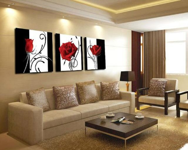 Aliexpress : Buy 3 Panel Red Rose Home Decorative Canvas Intended For Wall Art Sets For Living Room (Photo 18 of 20)
