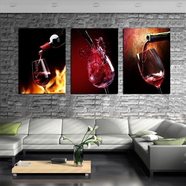 Aliexpress : Buy 3 Piece Canvas Art Kitchen Canvas Paintings Inside Vineyard Wall Art (Image 4 of 20)
