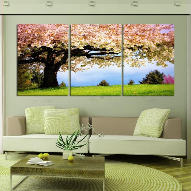 Aliexpress : Buy 3 Piece Canvas Romantic Wall Art Tree Picture For Large Green Wall Art (Image 5 of 20)