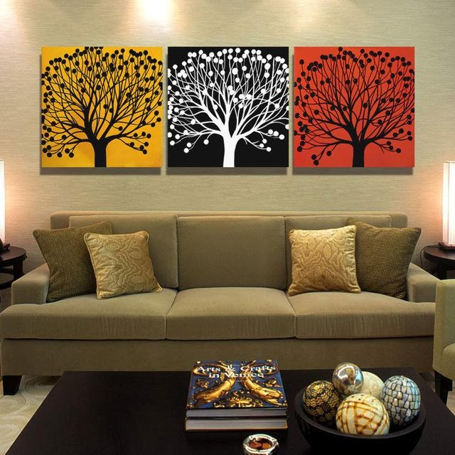 Aliexpress : Buy 3 Piece Canvas Tree Painting Calligraphy With 3 Piece Abstract Wall Art (View 9 of 20)