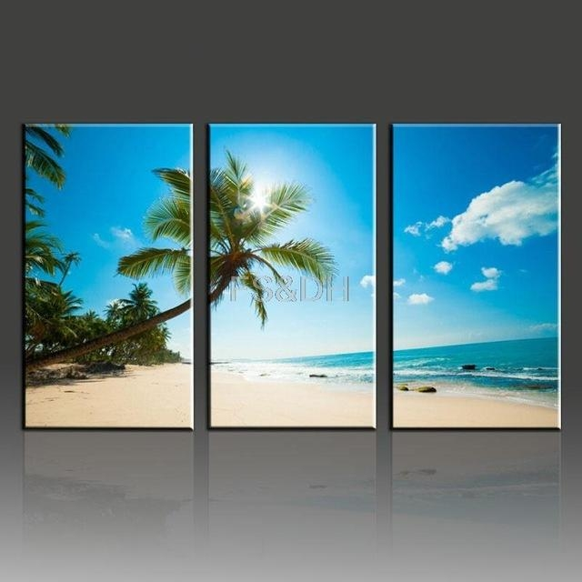 Aliexpress : Buy 3 Piece Canvas Wall Art Abstract Sets,beach For 3 Piece Abstract Wall Art (View 12 of 20)
