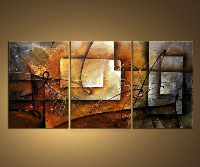 Aliexpress : Buy 3 Piece Hand Painted Modern Abstract Within 3 Piece Abstract Wall Art (View 14 of 20)