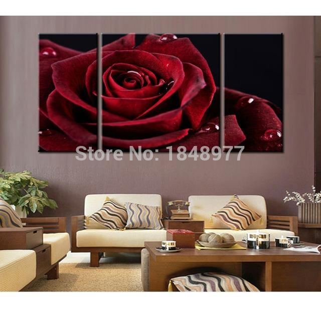 Aliexpress : Buy 3 Piece Modern Dark Red Rose Flower Abstract Regarding Red Rose Wall Art (Image 5 of 20)