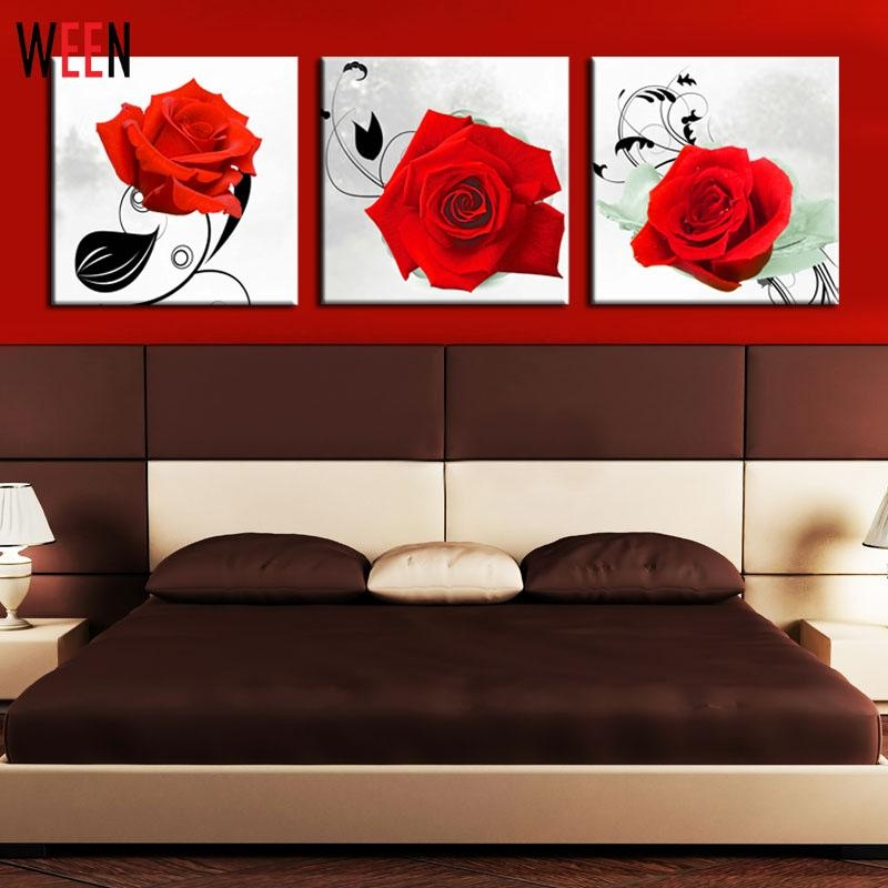 Aliexpress : Buy 3 Piece Red Rose Wall Art Picture Modern Home With Red Rose Wall Art (Image 6 of 20)