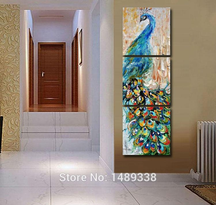 Aliexpress : Buy 3 Pieces Wall Art Peacock Painting Wall Art Regarding 3 Piece Wall Art (Image 5 of 20)