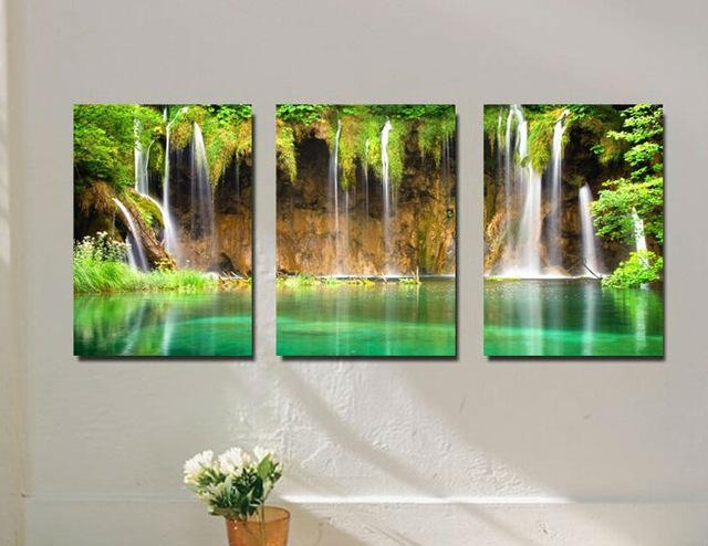 Aliexpress : Buy 3 Pieces Wall Art Waterfall Among Green Intended For Waterfall Wall Art (Image 5 of 20)