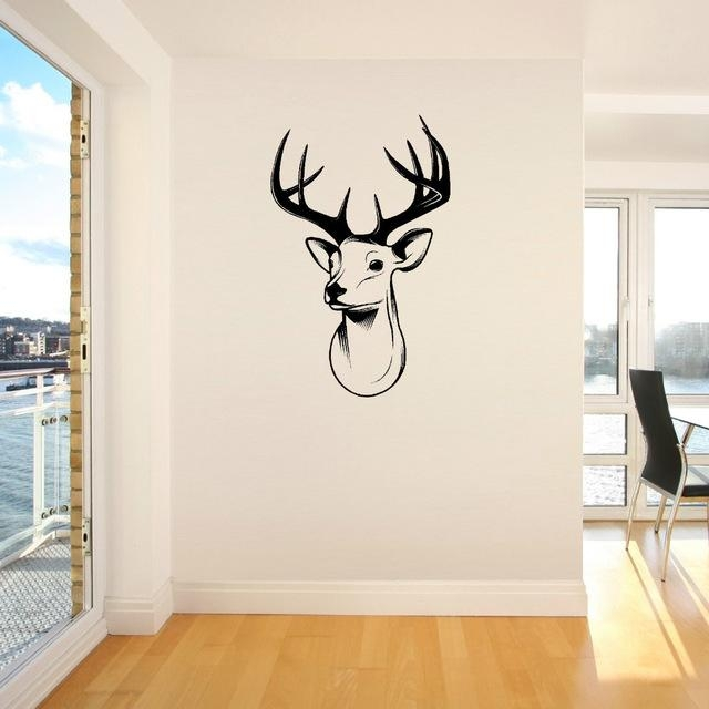 Aliexpress : Buy 3D Stags Head Deer Trophy Antlers Steer Vinyl For Stags Head Wall Art (Image 3 of 20)