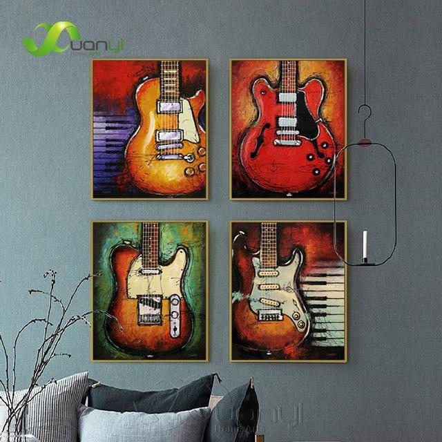 Aliexpress : Buy 4 Panel Abstract Guitar Canvas Prints Wall Throughout Guitar Canvas Wall Art (View 20 of 20)